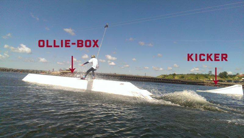 Ollie-box og kicker i kabelparken Thisted